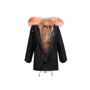 Edgii第三代皮草 粉色西伯利亚野生郊狼毛 黑色防泼水防风外壳 一衣三穿 可拆卸毛领 最高充绒量羽绒袖 男女同款