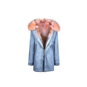 Edgii第三代皮草 粉色西伯利亚野生郊狼毛 牛仔外壳 一衣三穿 可拆卸毛领 最高充绒量羽绒袖 男女同款