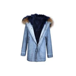 Edgii 第三代皮草 蓝色芬兰顶级狐狸毛 牛仔外壳 一衣三穿 可拆卸毛领 最高充绒量羽绒袖 男女同款